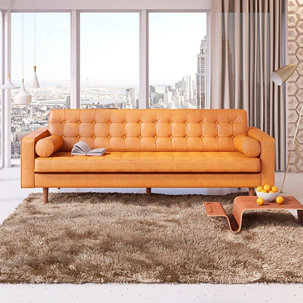 Brilliant Oscar Modern Tufted Faux Leather Sofa Honey Tan Af Ncnpc Chair Design For Home Ncnpcorg