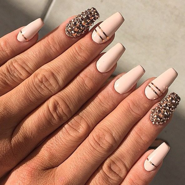 Coffin beige/nude nails with thin gold stripes and stones | Nails ...