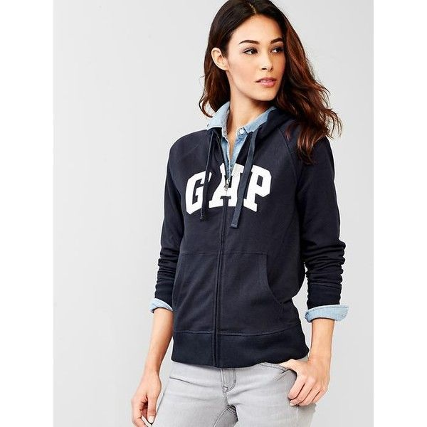 Gap Classic Logo Zip Hoodie ($30) ❤ liked on Polyvore featuring tops,  hoodies