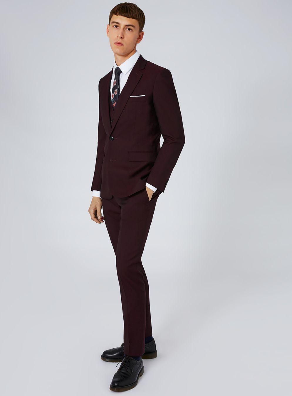 CHARLIE CASELY-HAYFORD X TOPMAN Maroon Skinny Wedding Suit | Charlie ...
