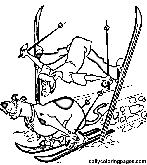 Scooby Doo Coloring Pages Free  scooby doo skiing  Coloring