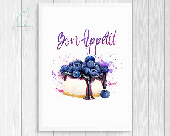Bon Appétit, Kitchen Poster, Kitchen Print, Kitchen Quote, Blueberry Print,  Purple