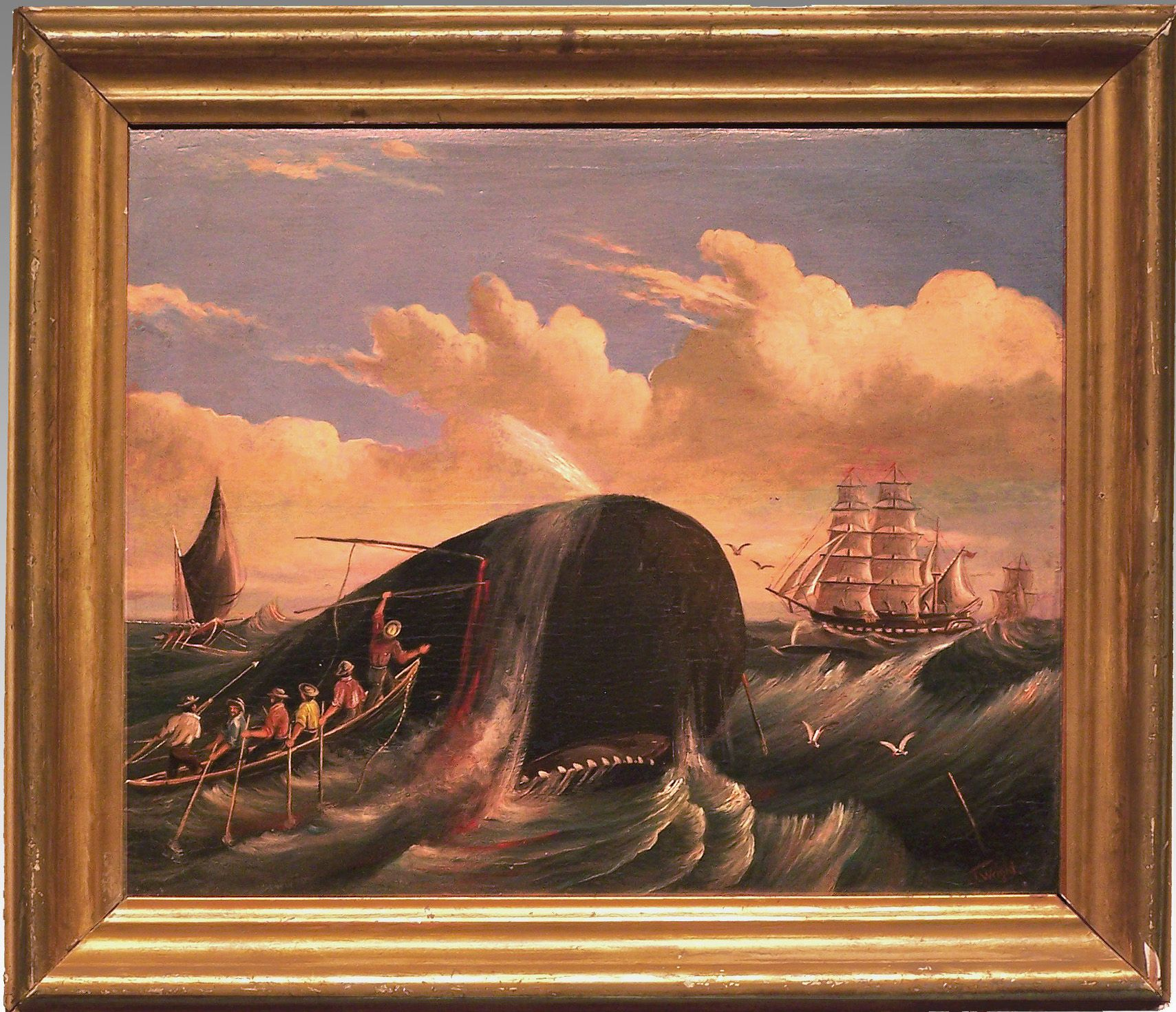 Whalers in action wood engraving published in 1855 stock illustration - Special Whaling Oil On Canvas Mid 19th Century