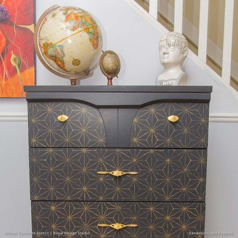 furniture design studios. Painted Dresser Drawers With Geometric And Modern Asian Pattern - Shibori Japanese Furniture Stencils Royal Design Studio Studios X