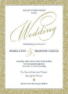 Navy and Gold Glitter Formal Wedding Invitation