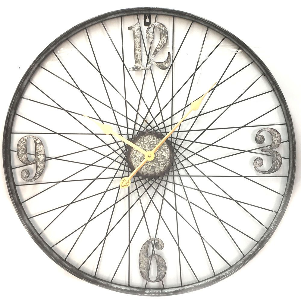 Bicycle Wheel Sculpture Clock Bicycle Wheel Rustic Wall Art