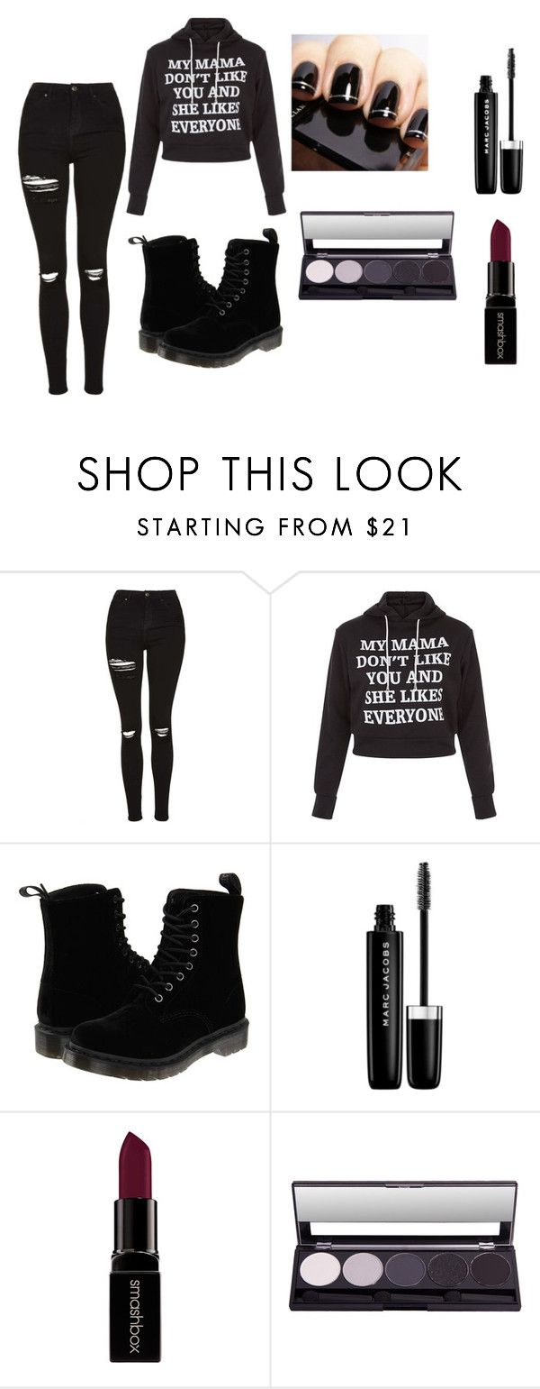 """""""mama don't like you XD"""" by nerdypatience ❤ liked on Polyvore featuring Topshop, Dr. Martens, Marc Jacobs, Smashbox, emo, Loveyourself and darkcolors"""