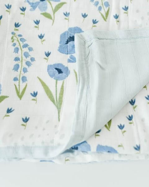 Little Unicorn Deluxe Muslin Quilt - Blue Windflower #littleunicorn
