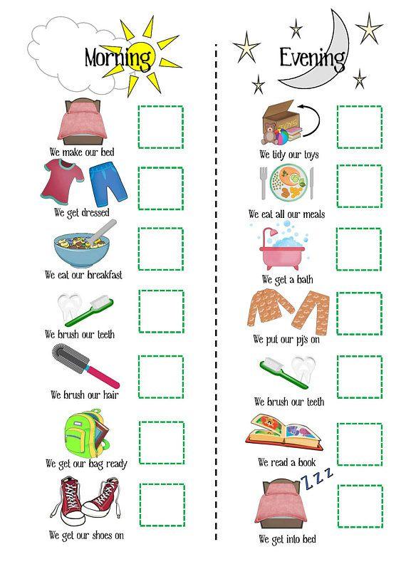 Kids routine printable morning routine evening routine toddler