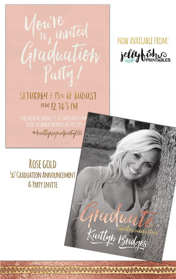 Rose Gold Senior Graduation Announcement Graduation Party