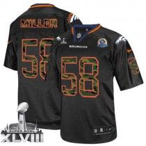 Nike Broncos #58 Von Miller Black With Hall of Fame 50th Patch Super Bowl  XLVIII