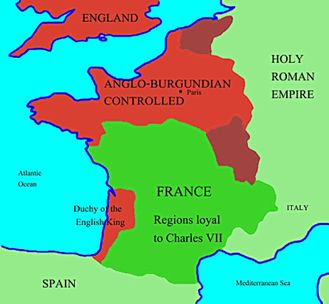The Map Of France With The City.A Map Of France During The Years That Joan Was Alive Joan Of Arc