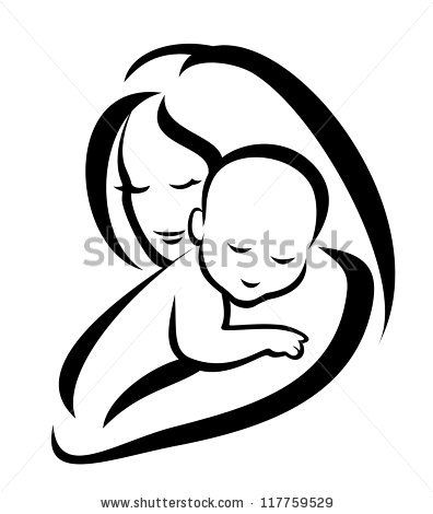 mother and baby vector silhouette. I have a photo of us in a very ...