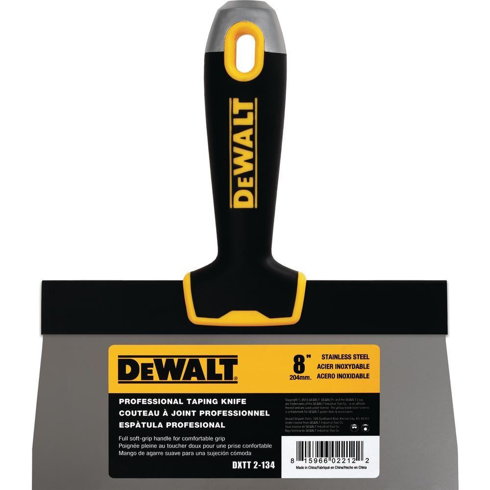 Dewalt 8 In Stainless Steel Hammer End Taping Knife With Soft Grip Handle 82852 Drywall Repair Custom Comfort Stainless Steel