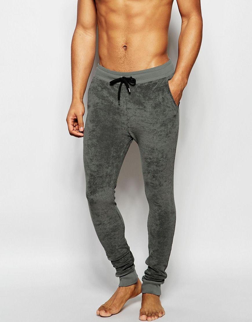 ASOS Loungewear Super Skinny Joggers In Khaki Towelling