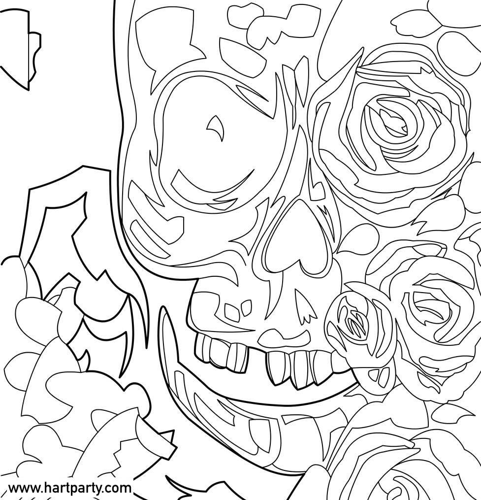 skull and roses coloring page chuck carson  the art