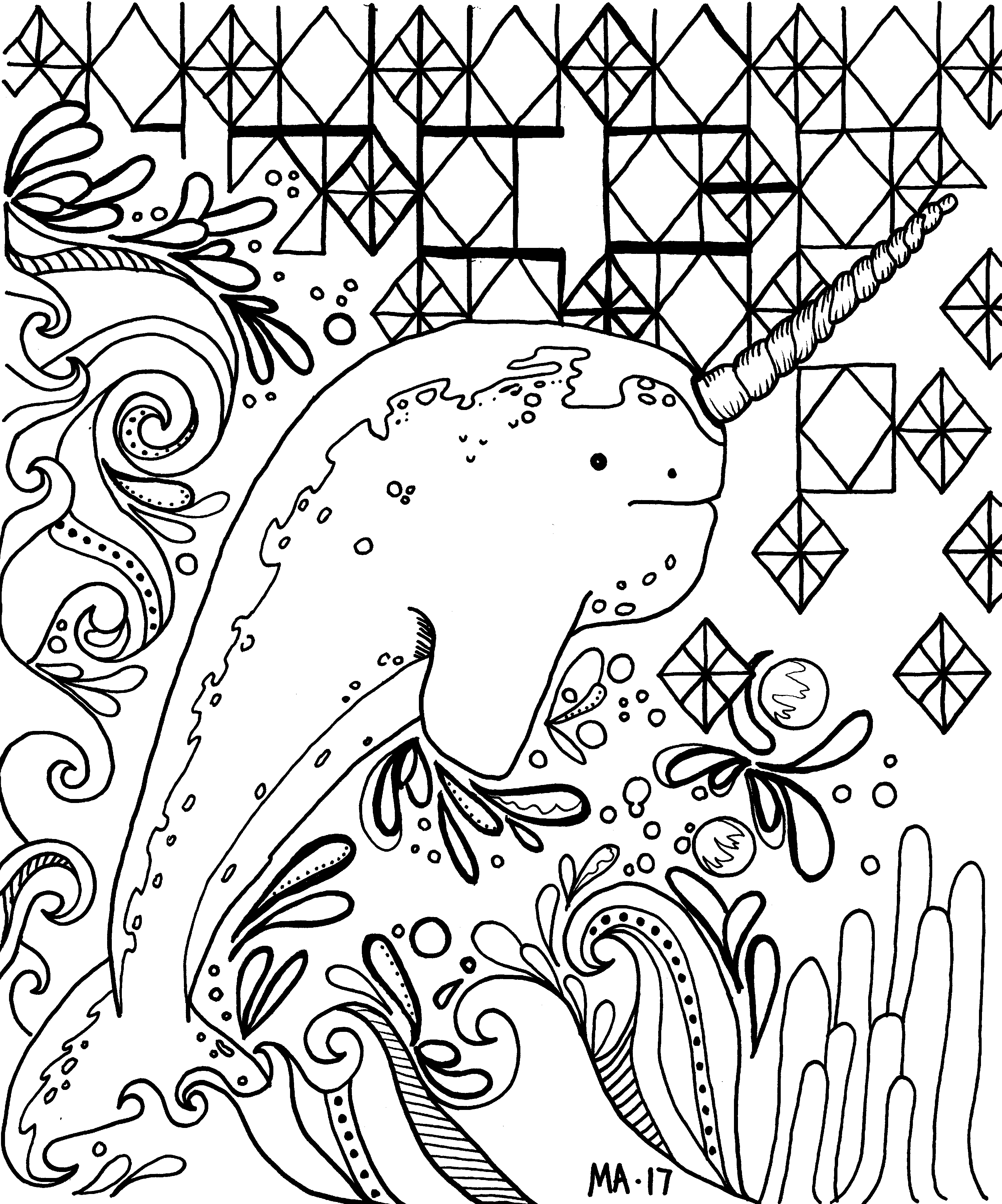 Narwhal Coloring page. adultcoloringbook