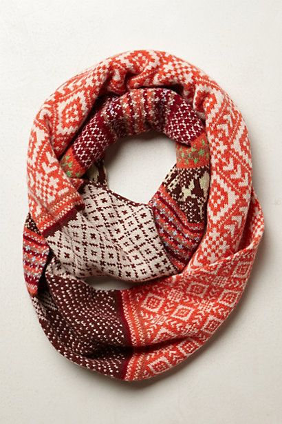 420f453719c7e Fairisle Infinity Scarf #anthropologie. I think neat pattern & warming  colors
