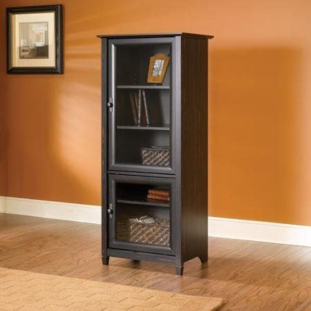 Nice Brown Entertainment Storage Cabinet Tower Vintage Antique Finish Shelves  For Books Stereo Or Tv Components Glass Doors Matching Tv Stand Completes  The Media ...
