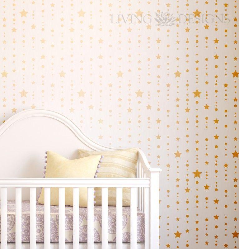 Plantilla decorativa para pintar paredes como papel tapiz - Papel habitacion bebe ...