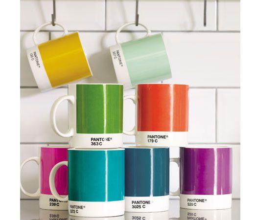 Colorful tea mugs