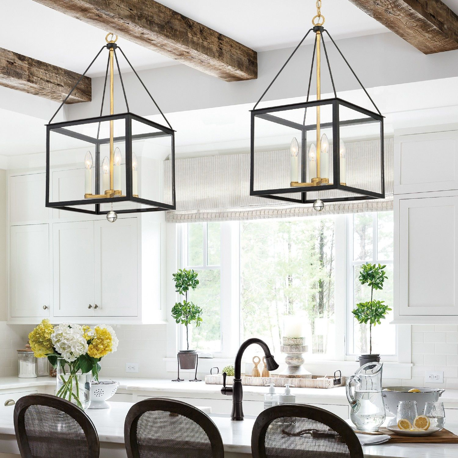 Crystorama Lighting Group Weston Matte Black And Antique Gold 14 Inch Four Light Pendant Wes 9905 Bk Ga Black Pendant Light Kitchen Lantern Pendant Lighting Lights Over Kitchen Island Lantern pendant light kitchen