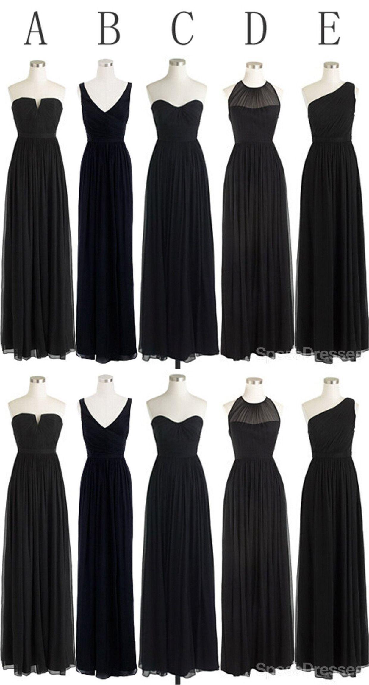 Black Cheap Simple Mismatched Styles Chiffon Floor Length Formal Long Bridesmaid Dresses Wg187 Black Bridesmaid Dress Mismatched Black Chiffon Bridesmaid Dresses Mismatched Bridesmaid Dresses