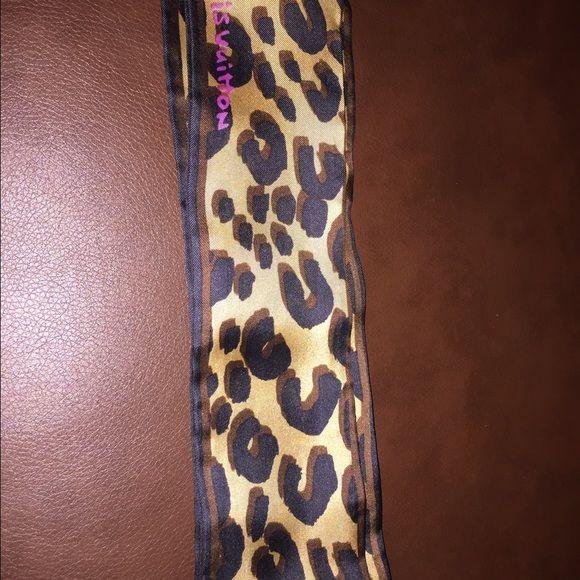 Louis Vuitton Twilly Scarf Leopard Print Louis Vuitton Leopard Twilly Scarf Louis Vuitton Accessories Scarves & Wraps