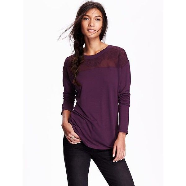 Old Navy Womens Embroidered Yoke Top ($23) ❤ liked on Polyvore featuring tops, petite, ready for this jelly, long sleeve keyhole top, purple top, yoke top, embroidery tops and round top