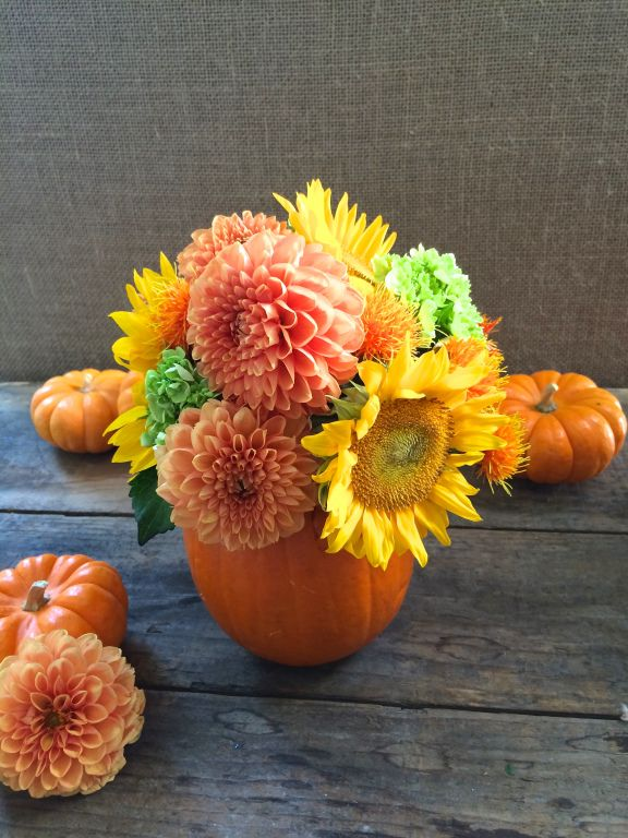 Pumpkins & Flowers! 4 ideas for creating a bright Fall flower arrangement with pumpkins.