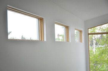 Windows gyp board wrap no trim dream home pinterest for Mid century modern interior window trim