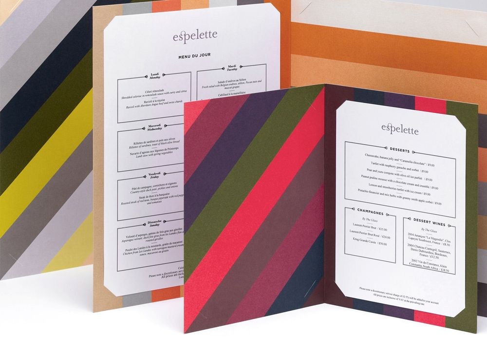 Construct – Espelette Menus  Inspired by Sol Lewitt we created a rich, bold graphic palette using 6 special colours for each menu. A colour palette was created for each occassion and menus are rotated through the day. We applied the graphic to all menu surfaces and enjoyed the change in direction of stripes created by the construction of the menus creating verticals meeting horizontals.