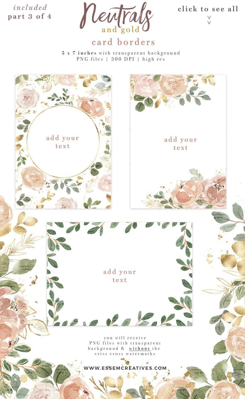 Neutral Watercolor Flowers Clipart Peach Gold Floral Watercolor
