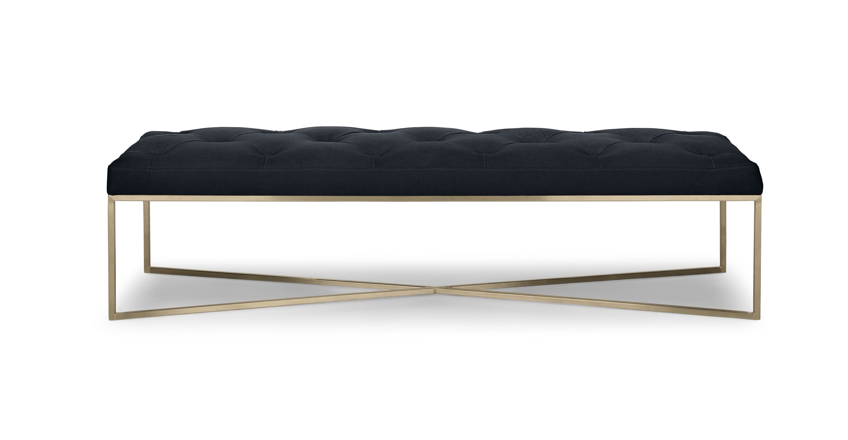 Black Leather Bench Ottoman Metal Legs