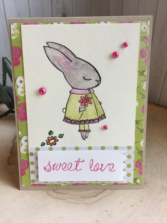 sweet loveblank greeting cardbunny rabbit