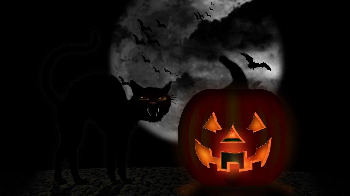 Black Cat And Jack Animated Halloween Desktop Oldtime Halloween