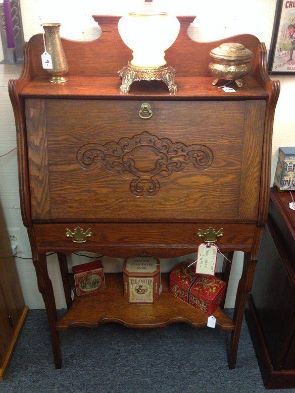 Early 1900s Antique Oak Small Secretary Desk - Early 1900s Antique Oak Small Secretary Desk Secretary Desks