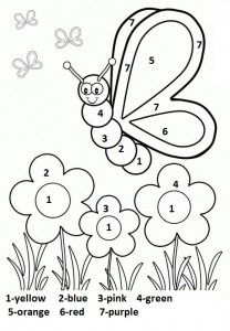 Color by number spring worksheet for kids Butterfly