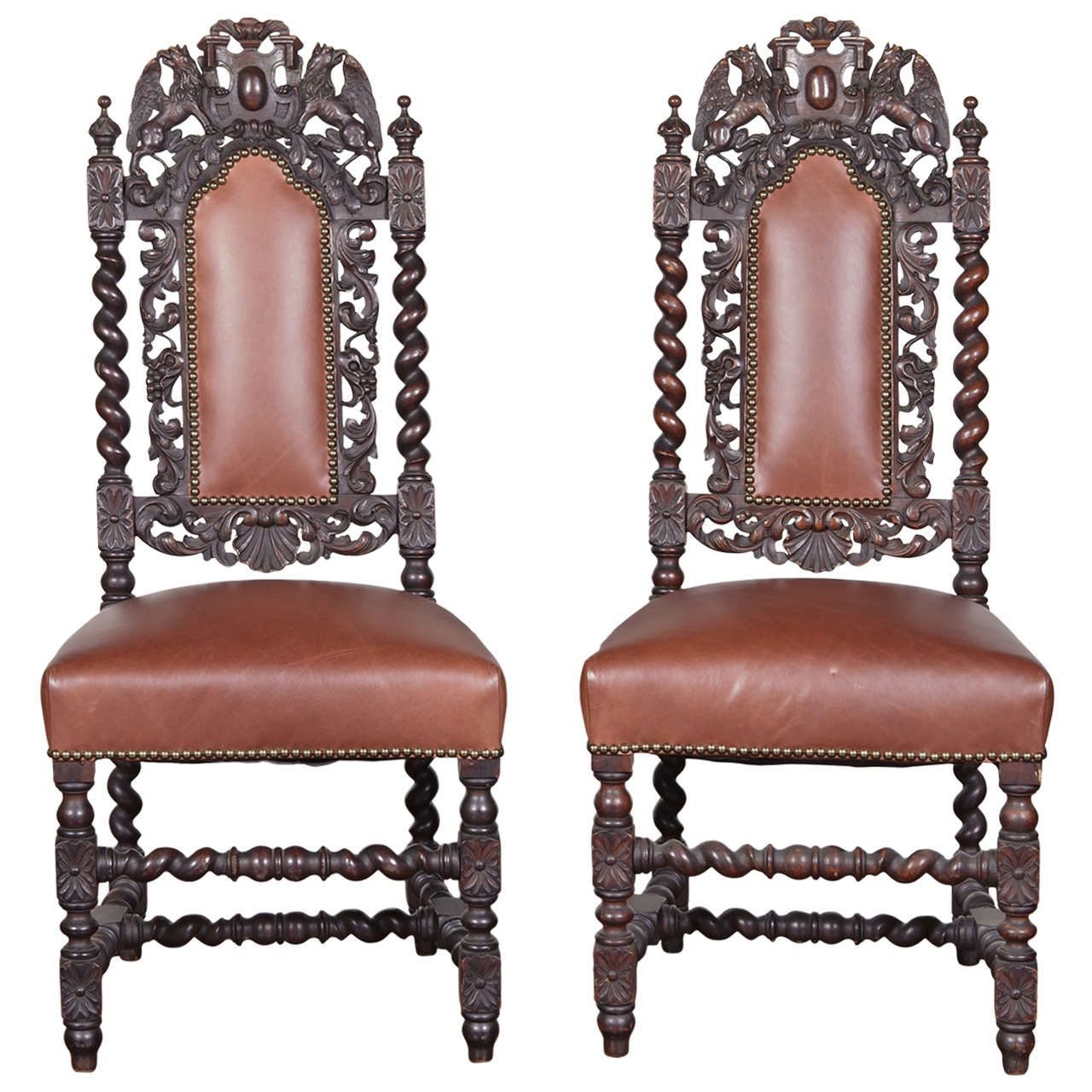 Pair of Spanish Baroque Style Side Chairs From a unique
