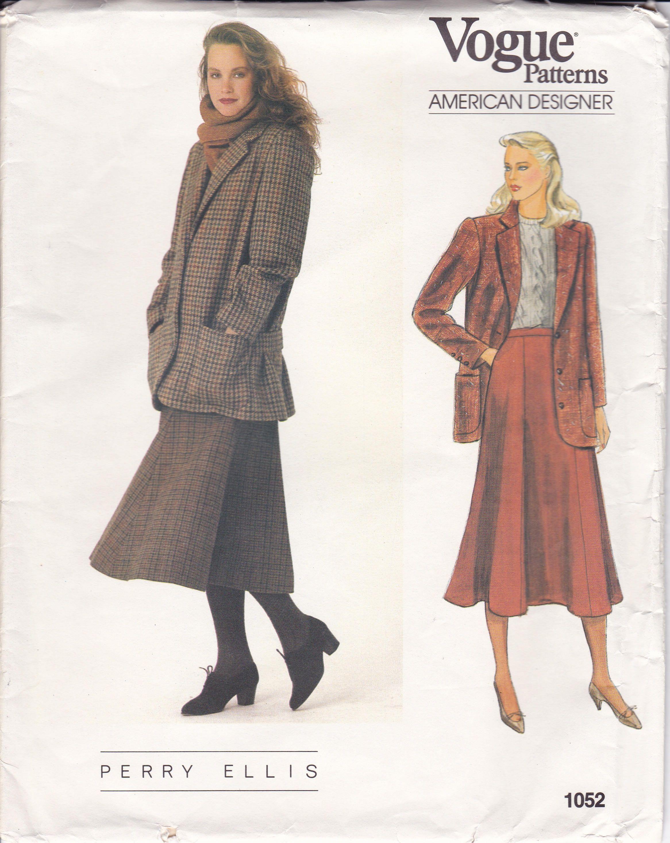 Free Us Ship Sewing Pattern Vogue 1052 Vintage Retro 1980s 80s ...
