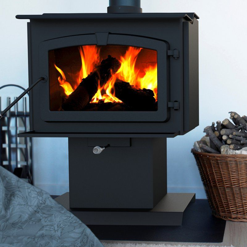 Pleasant Hearth Small Wood Burning Stove With Blower Black Hws