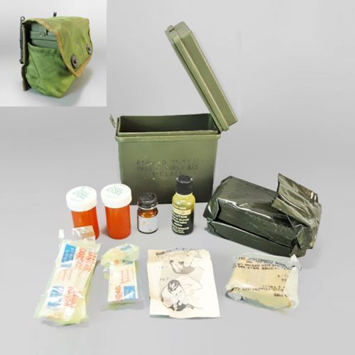 Vintage individual troop personal U S  military first aid kit with