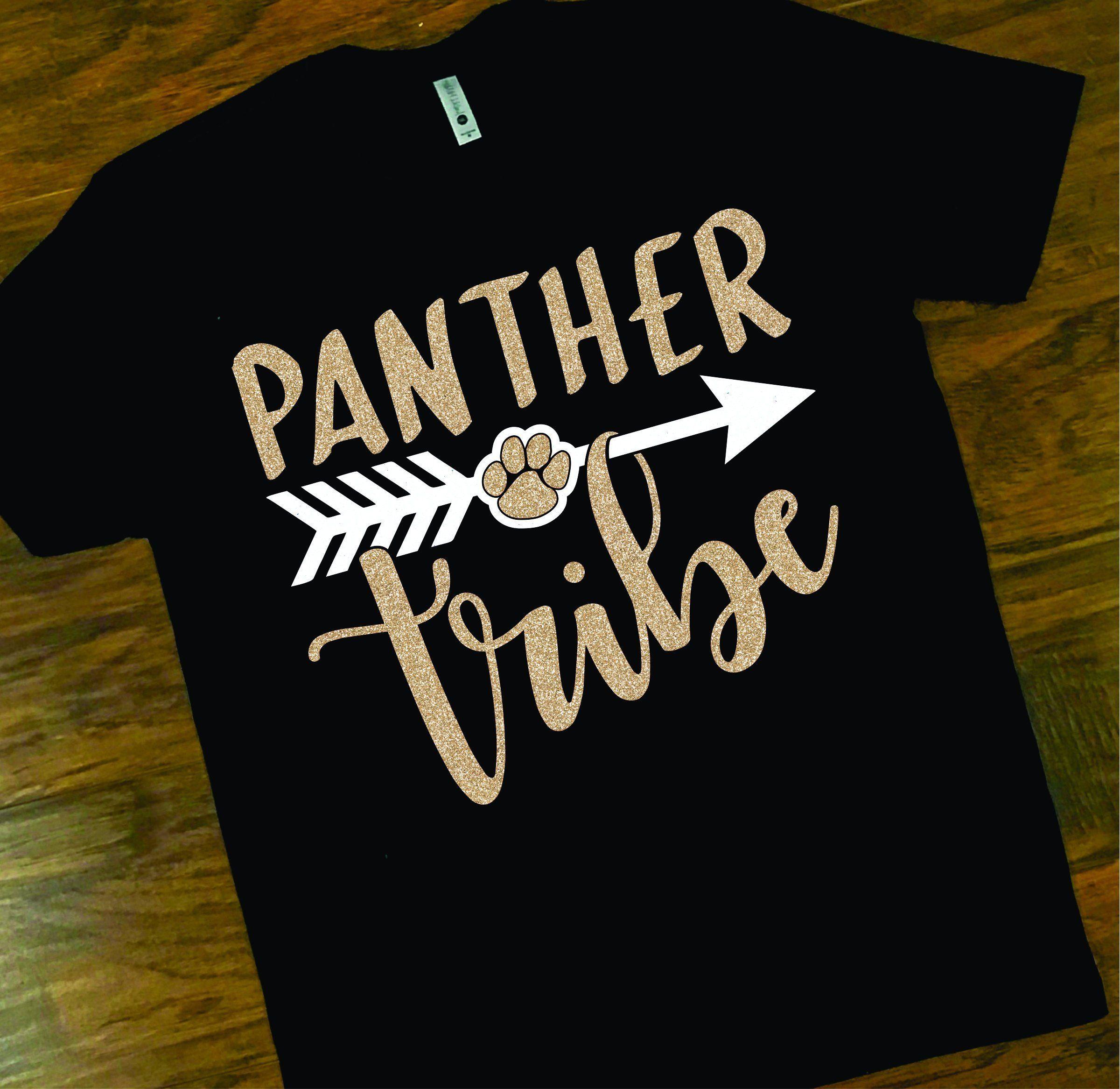 0743fe43 School Spirit Panther Tee, Panther Tribe Glitter Tee, Panther School Tee,  Custom Glitter School Spirit T-Shirt by shopMKD on Etsy