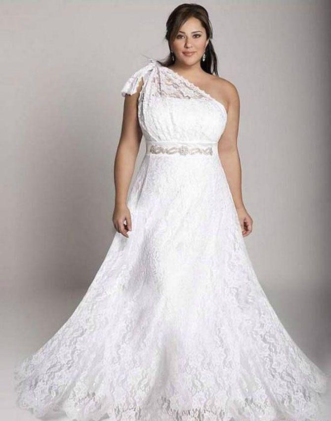Abito-da-sposa-per-spose-XL-monospalla.jpg (670×852) | matrimonio ...