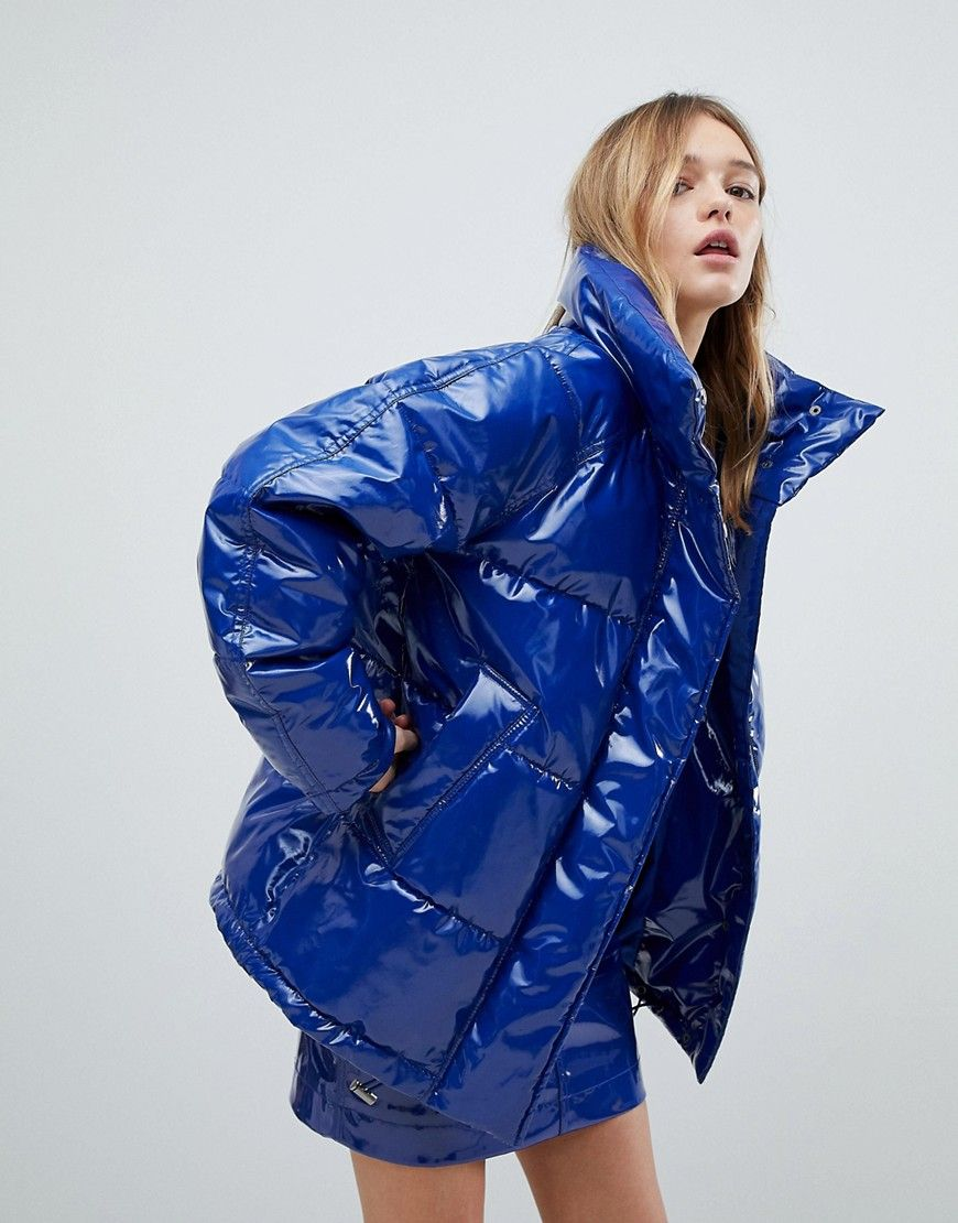 Monki Patent Padded Coat | Jacken, Daunenjacke damen und