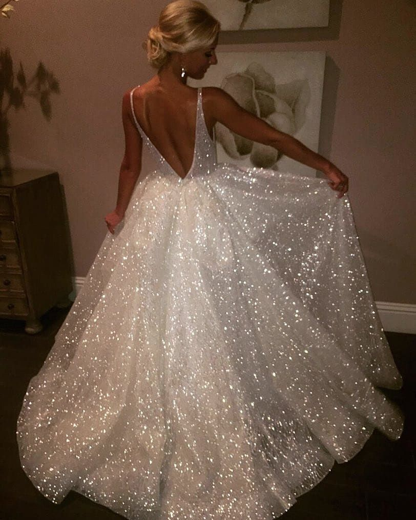 15 Of The Sparkliest Wedding Dresses We Ve Ever Seen Bride Wedding Weddinggown Bridalgown Sparkl Backless Prom Dresses Backless Wedding Ivory Wedding Gown
