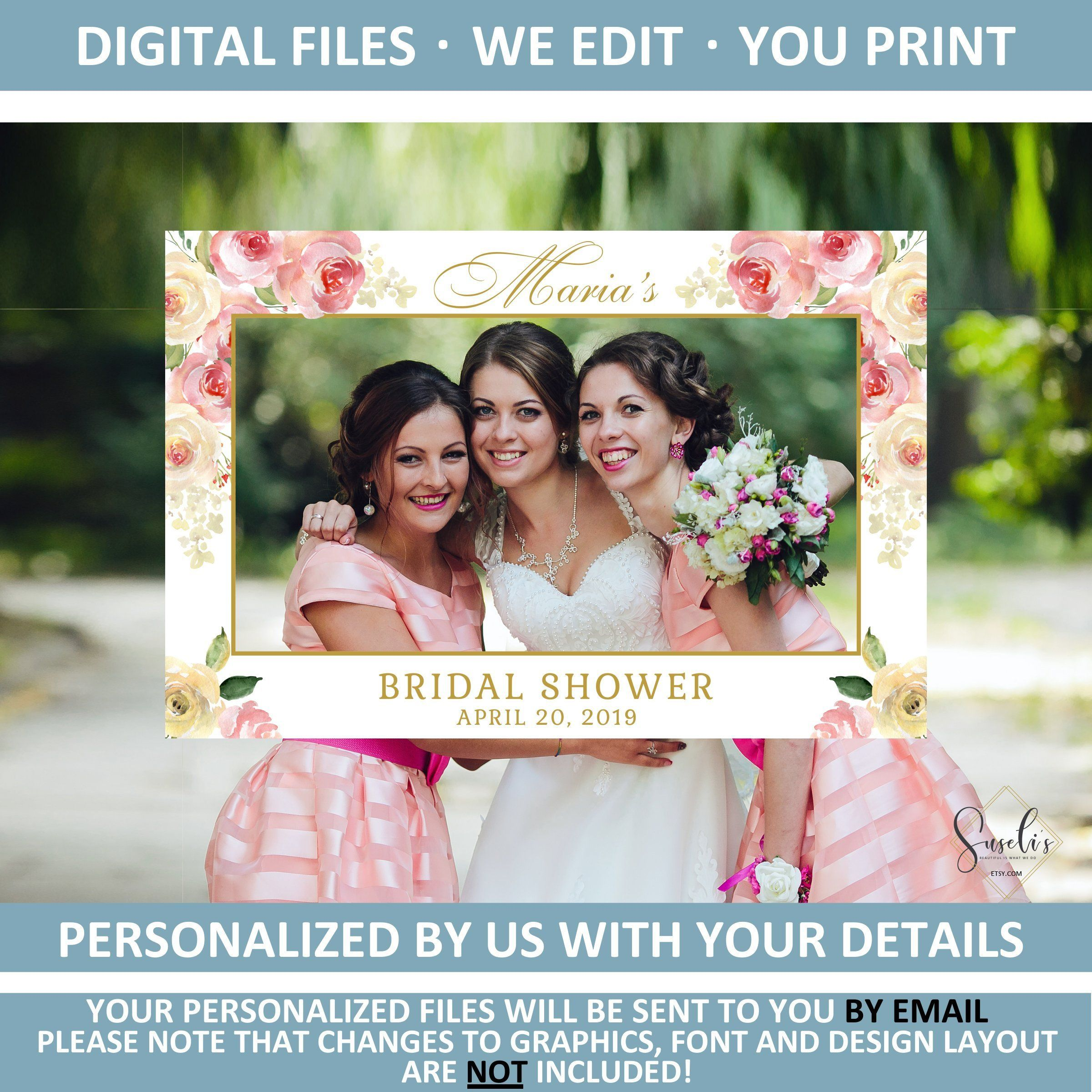 Printable Tea Party Bridal Shower DIGITAL FILES Tea Party Theme Photo Prop Booth Frame Personalized Selfie Frame Watercolor Blush Pink