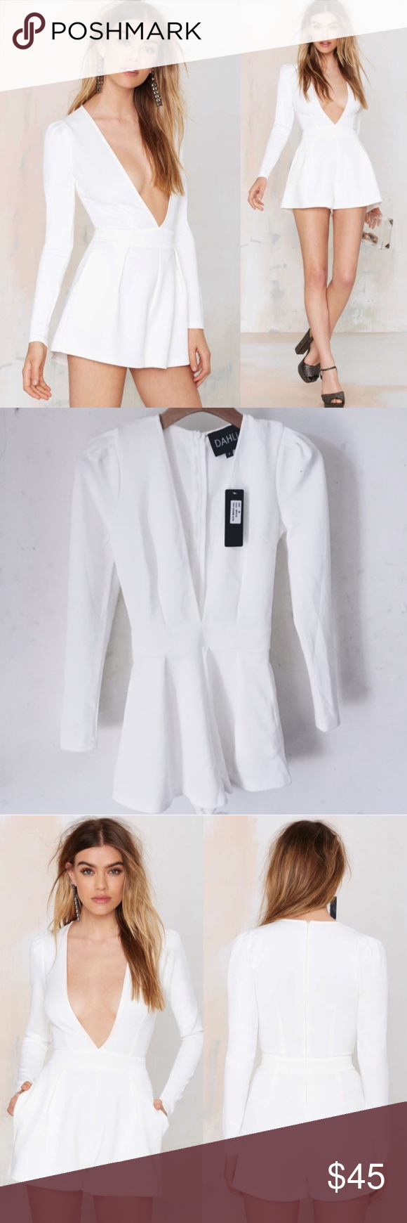 Nasty Gal Romper Brand New With Tags Super comfortable material. White romper from nasty gal, brand new with tags. Never worn. Nasty Gal Other
