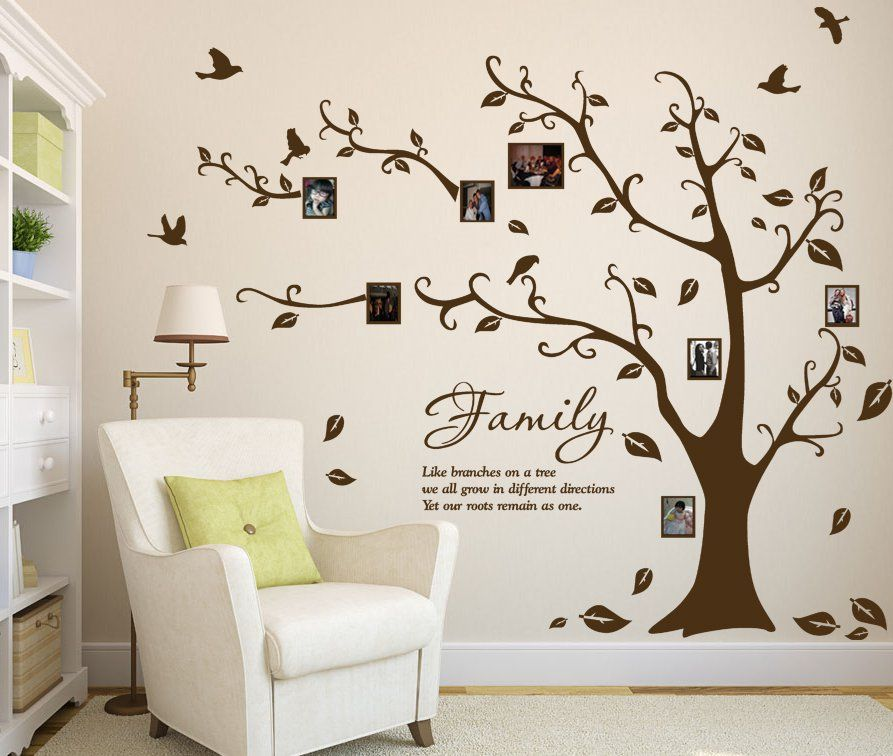 Large Family Photo Tree Amp Birds Art Vinyl Wall Sticker Diy Decal - Wall decals about family