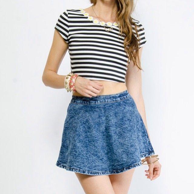 WEBSTA @ judybluejeans - Denim A-Line Skirt! Get yours @ www.gstagelove.com #denim #ootd #skirt #skater #aline #judyblue #gstage